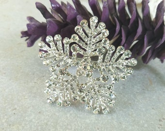 62mm Silver Clear Rhinestone Snowflake Brooch Flatback Embellishment or Pin Large Rhinestone Flower Broach Winter Wedding Bouquet DIY  sc5