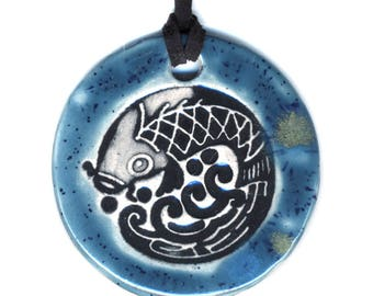 Koi Fish Ceramic Necklace in Speckled Blue