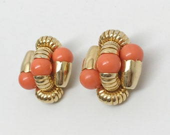 Vintage Gold Tone & Coral Color Stone Designer Clip On Earrings
