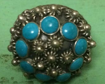 Mexican Sterling Silver Turquoise Adjustable Dome Ring Twisted Bead Design