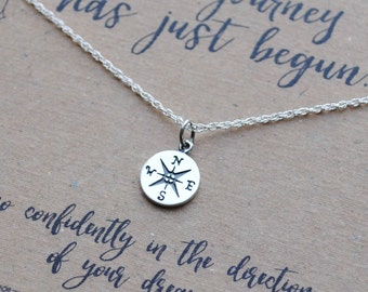 READY TO SHIP . Tiny Compass Necklace . Graduation Gift . The Journey Has Just Begun Necklace  .  inspirational necklace