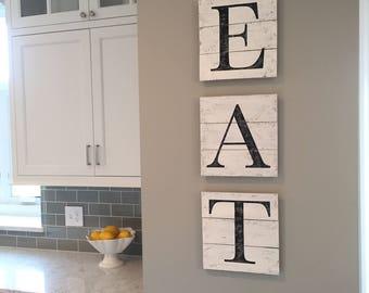 EAT sign, wood pallet, farmhouse sign,  kitchen decor, shiplap, letters