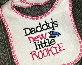 Police Officer Baby Girl Bib Daddy's new little Rookie with Policeman Hat Ready to Ship Embroidered Saying