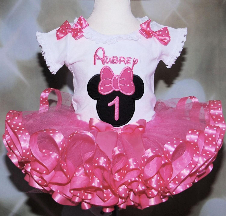 Minnie Mouse First Birthday Party Via Little Wish Parties: 1st Birthday Girl Outfit Minnie Mouse Birthday Tutu Set Cake
