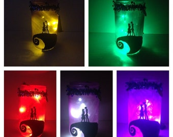 Nightmare Before Christmas Jar Lamp Jack and Sally Nightlight Halloween Decoration Prop