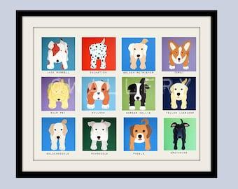 Art for childrens wall art for kids. Puppy dog print for boys room art. Baby nursery art. Nursery decor. Kids decor. Dog art by WallFry
