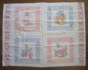 Beatrix Potter Fabric Panel, Frederick Warne 1993, Peter Rabbit, The Tailor of Gloucester, BenjaminFabric Panel, Benjamin Bunny, Cotton