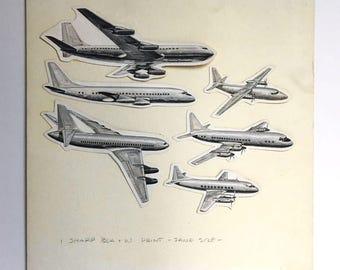 Original Art, Aviation Advertising, Six Aircraft