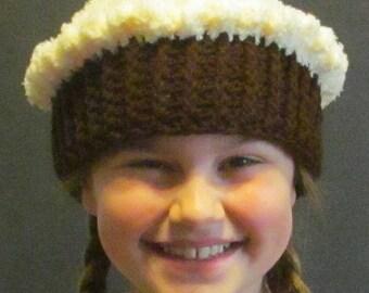 Crochet Cupcake Hat ~ Size Small~ Cream colored top/Dark brown bottom