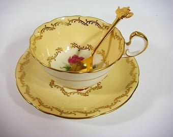 Aynsley Tea Cup and Saucer Bone China Tea Pot Spoon HIC Japan Goldtone Yellow and Gold Scroles Flowers