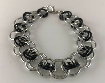 Sale 25% off Black and Silver Helm Chain Chainmaille Bracelet