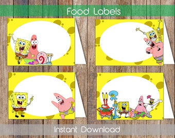 Spongebob Food Labels Spongebob Food Tent Labels Spongebob Candy Labels Spongebob Name Cards Printable Food Tent Cards Instant Download