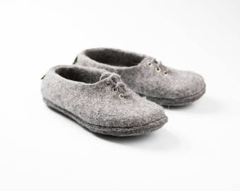 Gray felted wool sneakers handmade from natural wool, Felted wool shoes, Warm sneakers, Winter shoes, Winter slippers, warm wool, gift idea