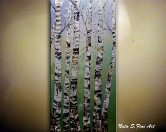 "Birch Tree Painting, 48"" Large Wall Art, Colorful Textured Artwork, Abstract Painting, Birch Forest Painting, Palette Knife Art by Nata S"