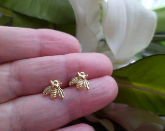 Tiny Gold and Silver Bee Earrings, Bee Stud Earrings,