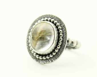 Rutilated Quartz, Quartz Ring, Gemstone Ring, Boho Ring, Sterling Silver Ring, Gold Rutile Quartz, Silver Quartz Ring, size 7