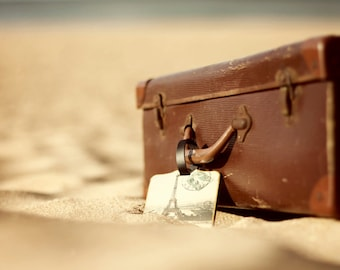 Old Suitcase Photo, Typography, Beach Photo, Vintage Suitcase Photo, Old Suitcase, Sand, Luggage Tag, Eiffel Tower, Paris Holiday, Travel
