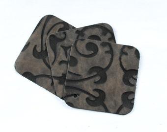 """Antique Stencil Vintage Scrap Leather Craft Remnant 4"""" x 4"""" P29"""