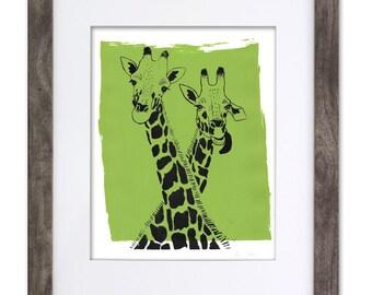 Giraffe Screen Print // Handmade 8x10 Art