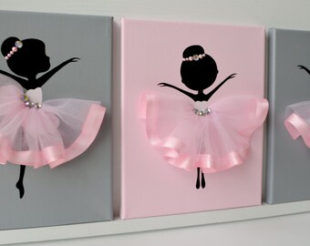 Ballerina nursery wall art.  Pink and grey ballerina decor.