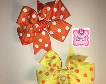 """3"""" Pinwheel Polka Dot Hair Bows"""