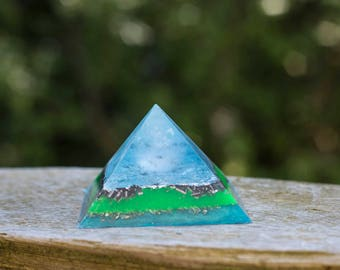 Orgone Pyramid- Clear Quartz Sphere