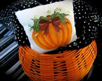 Pumpkin Harvest Miniature Dollhouse Pillow