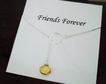 Eternity Infinity & Citrine Briolette Silver Lariat Necklace ~~Personalized Jewelry Gift for Friend, Sister of Groom and Bride, Bridal Party