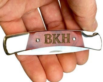 Personalized Engraving on Buck Knives Squire Folding Pocket Knife with Laser Engraved Rosewood Handle, Fathers Day Gifts