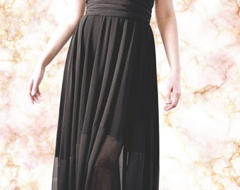 Bridesmaid Sheer Hem Convertible Wrap Dress