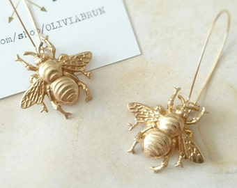Gold Bee Earrings Dangle Bee Earrings Gold Bumble Bee Earrings Drop Earrings Insect Earrings Insect Jewelry