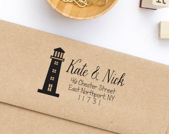 Custom Return Address Stamp, Lighthouse Address Stamp, Self-Inking Address Stamp, Wooden Address Stamp - Beach Wedding Stamp Style No.93