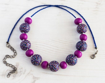 Fuchsia and Blue Beaded Necklace, Boho Magenta Necklace,  Handmade Blue Necklace, Original Gift for Her, Fuchsia Jewellery, Blue Jewellery