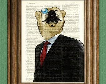 Polar Bear Art 'Exquisite Indeed' Fancy Bear with mustache and monocle illustration suave dictionary page book art print