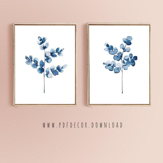 Navy Blue Wall Art, Set of 2 Navy Art, Blue Printable, Blue Watercolor, Set of 2 Printable, Digital Prints, Navy Blue Decor, Set of 2 Prints