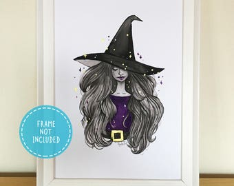 Watercolour Witch Art Print with Hand-painted Gold Ink Embellishments (available in A4/A5)