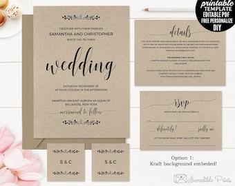 Rustic Wedding Invitation Template. Printable Kraft Paper Wedding Invitation. Elegant PDF DIY Download Editable Classic Calligraphy.