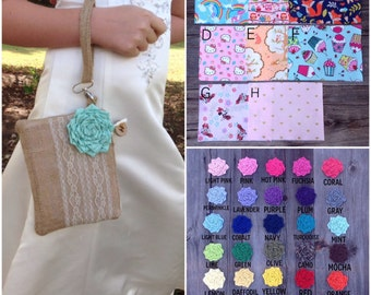 Bridesmaid Gift, Wedding Burlap, Flower Girl Gift, Personalized Wood Slice, Rustic Romance, Woodland Wedding, Bridesmaid Clutch, Burlap Bag