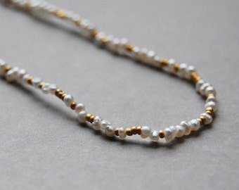 Delicate Tiny Pearls and Matte Gold Seed Bead Necklace