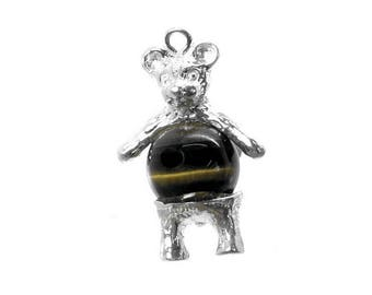 Sterling Silver & Tiger's Eye Teddy Bear Charm For Bracelets