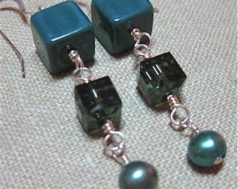 Cubist Dark Green Triple Drop Dangle Earrings - E276
