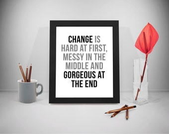 Change Is Hard At First Printable Quotes, Change Sayings, Change Print Art, Change Prints, Change Black And White Poster, Office Decor