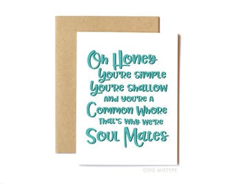 Will & Grace Card, Funny Birthday Card, Pop Culture, Television - Soul Mates