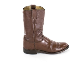 Justin Cowboy Boots Brown Leather Western Boots Mid Calf Flat Boots Womens Size 6