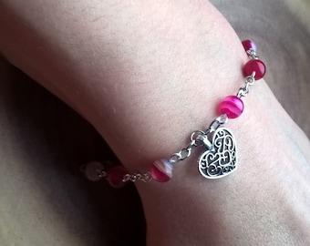 pink beaded love heart charm bracelet, silver heart jewellery, gift for her