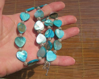 Gift for Her! HEART shape MOP/Shell Blue Aqua & filigree Silver ball Necklace!