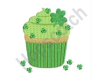 St. Patrick's Day Cupcake - Machine Embroidery Design, Cupcake, Shamrocks, St. Patrick's Day
