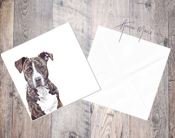 Staffordshire Bull Terrier Greeting Card 'Jessie' - Brindle / Blank Inside