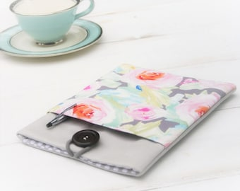 Kindle Paperwhite sleeve, Kindle Fire cover, Ereader Accessories, Nook,Gadget Cases and Covers, Samsung Case in Linen and Tender Flowers