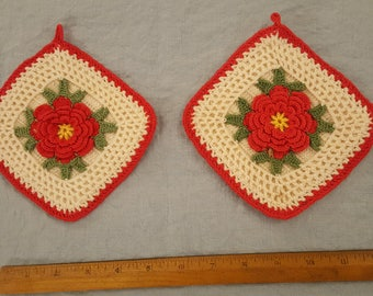 Red, green and ivory rose vintage potholders